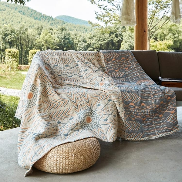 波西米亞純棉沙發套罩巾全包蓋布四季通用沙發墊毯毛巾被【白嶼家居】