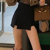 褲裙 黑色高腰西裝裙褲女2021春夏設計感高腰開叉顯瘦百搭休閒闊腿裙褲 晶彩 99免運