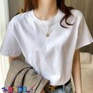 短袖T恤 素色T恤200g美式重磅純棉圓領打底T恤白色短袖t恤寬鬆純色男女半袖上衣夏【寶貝 上新】