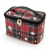 Sanrio HELLO KITTY蘇格蘭黑格紋系列PU皮革化妝提包★funbox★_063355