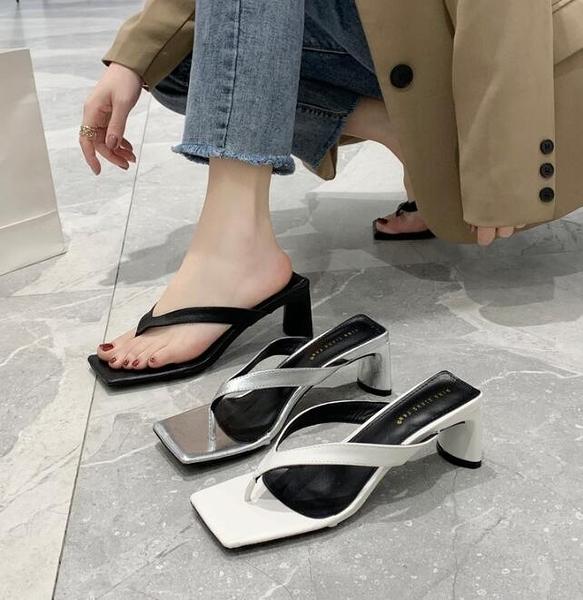 夏季新款日式百搭人字夾趾高跟夾腳粗跟涼鞋網紅涼拖鞋女ins - 風尚3C