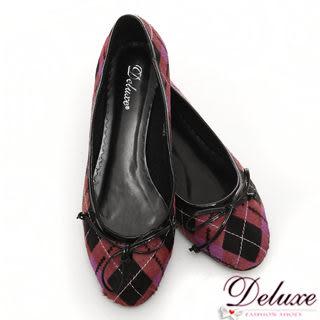 Deluxe-真皮mix馬毛經典菱格紋平底娃娃鞋-紫紅