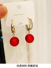 新年耳飾 過年紅色大珍珠耳墜結婚韓國網紅耳飾女新款潮短款氣質耳環【快速出貨八折鉅惠】