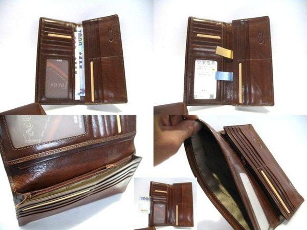 【皇家*台中店】【FOCUS*413】馬鞍皮牛皮2折式2摺式有大鈔暗袋夾層咖啡色男長夾皮夾皮包錢包-1