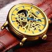 鏤空機械錶手錶男皮帶全自動男士手錶時尚學生防水夜光腕錶-交換禮物