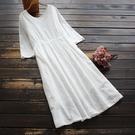 東京奈奈日系森林系棉繡花短袖甜美連身裙[j01496]