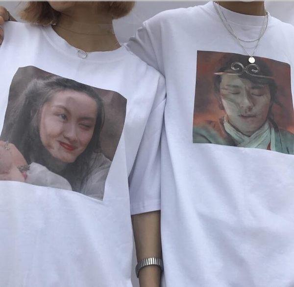 找到自己 MD 日系 潮 街頭 男女 情侶裝 寬鬆五分袖 紫霞仙子 至尊寶 短袖T恤 特色短T