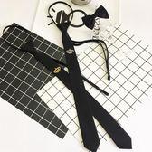 時尚潮流新款男士小領帶皇冠刺繡發型師細窄黑色5cm懶人拉鍊配飾 生日禮物