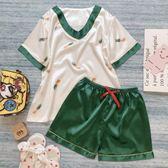 ins風V領綠菠蘿睡衣女夏季薄款冰絲真絲綢韓版短袖學生家居服套裝