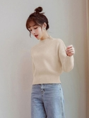 小個子短款毛衣女秋冬百搭加厚保暖打底衫半高領高腰針織衫女   koko時裝店