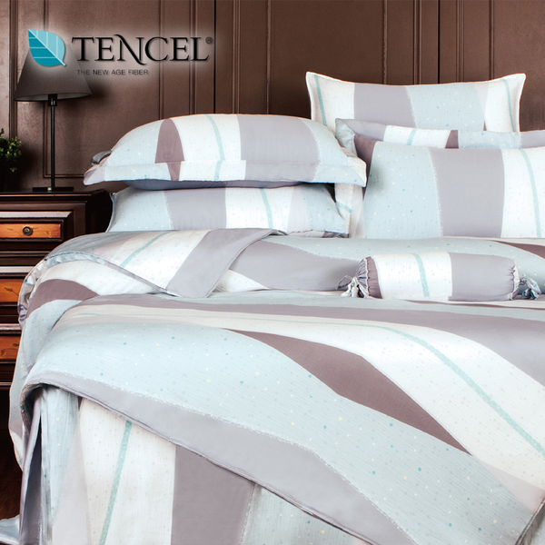 【貝淇小舖】天絲床包四件式 100%萊賽爾天絲雙人5x6.2尺 鋪棉兩用被床包組 附天絲吊卡 安格爾