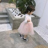 可愛2018春裝新款女童正韓可愛長袖拼接連衣裙蓬蓬紗裙公主裙禮物限時八九折