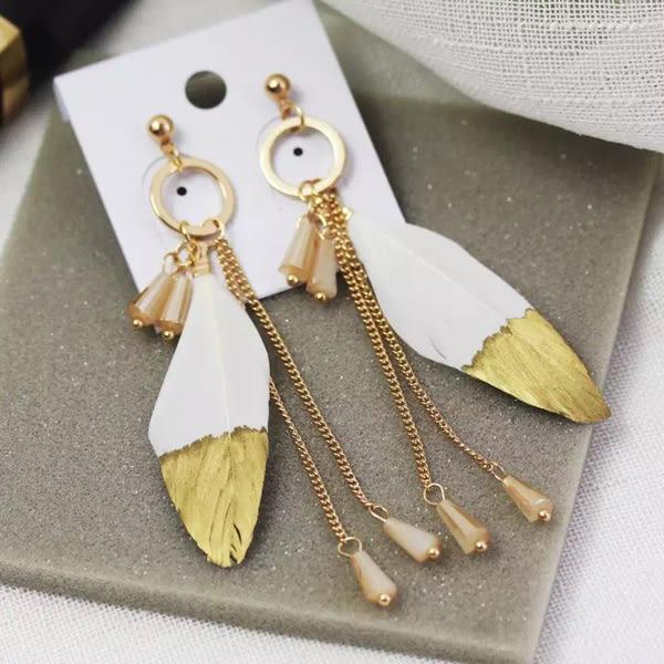 耳環 精緻優雅漸層金羽毛唯美水晶長流蘇垂墜式耳環【1DDE0428】