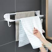 毛巾架 免打孔衛生間毛巾桿浴巾架子吸盤式廁所浴室掛架毛巾置物架-快速出貨