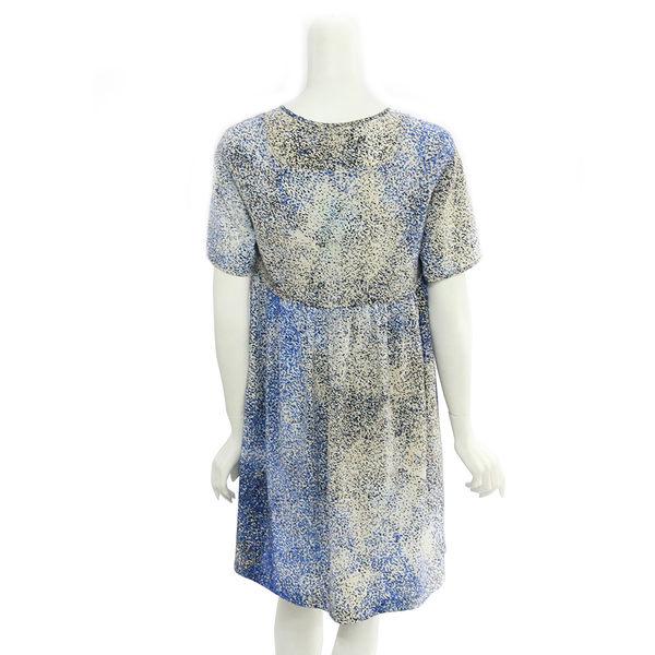 【KENZO】數位點點絲質短袖洋裝 (藍白色) 2R0022522 74