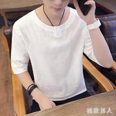 棉麻上衣t恤男士夏季薄款五分短袖休閒寬鬆體恤 tx1562【極致男人】