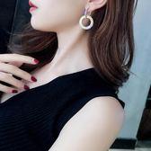 耳飾 銀針水鑽圓圈長款耳環氣質韓國個性百搭耳墜歐美夸張耳釘女