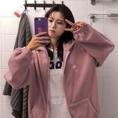 秋冬女裝韓版寬鬆學院風卡通刺繡搖粒絨加厚連帽衛衣開衫上衣外套    瑪奇哈朵