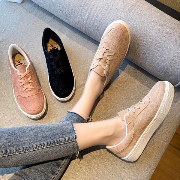 (領券再折) 白鳥麗子 MIT超柔軟沙發後跟 綁帶麂皮厚底帆布鞋