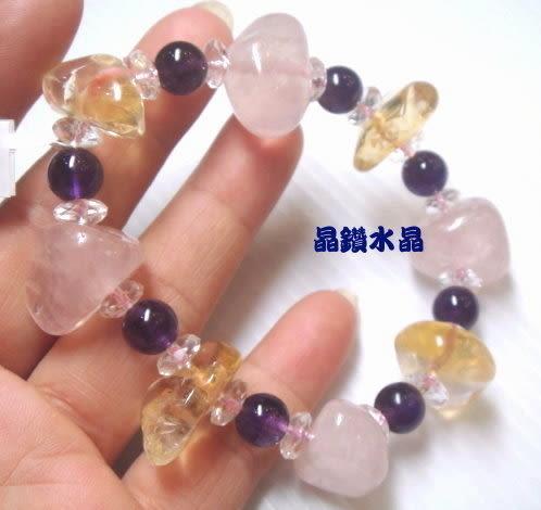 天然星光粉晶(芙蓉晶)搭配天然紫水晶&天然黃水晶大手鍊*免運費