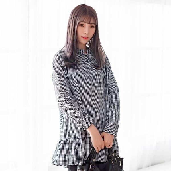 襯衫洋裝--經典可愛撞色格紋百褶立領荷葉裙娃娃裝長版上衣(黑XL-4L)-X367眼圈熊中大尺碼◎