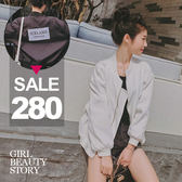 SISI【C6035】休閒百搭韓版棒球服背字母印花雪花絨長袖風衣外套