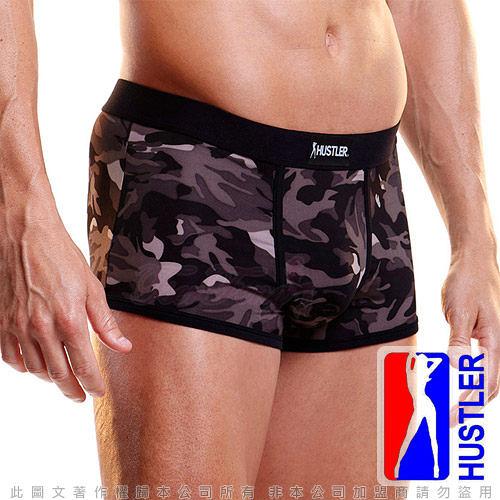 性感內褲送潤滑液 性感丁字褲 慾望之都美國HUSTLER-性感模男平口內褲-迷彩黑(XL)