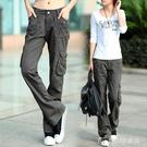女士工裝褲戶外工裝褲女秋季帥氣加長版高個子寬鬆bf高腰顯瘦直通純棉休閒褲 快速出貨