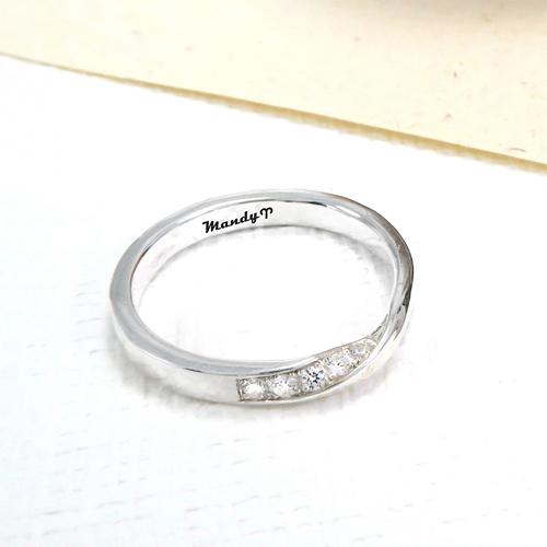 莫比烏斯系列 女款小鑽戒-訂製戒指 刻字 純銀戒指(單只)