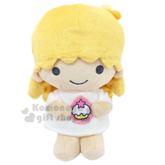 〔小禮堂〕雙子星LALA 絨毛玩偶娃娃《XS.黃白.食物裝飾牌》擺飾.玩具 4901610-59833