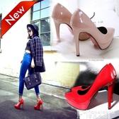 婚鞋超高跟12cm女鞋子歐美2020春季新款尖頭防水臺細跟單鞋紅色婚鞋 非凡小鋪