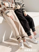 網紅奶奶褲女秋冬毛呢蘿卜褲寬鬆加厚高腰直筒休閒哈倫闊腿燈籠褲 米希美衣