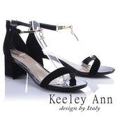 ★2018春夏★Keeley Ann宴會名媛~優雅垂墜珍珠飾釦真皮中跟涼鞋(黑色)-Ann系列