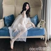 網紗連身裙 格格家夏季性感女神一字肩純色網紗珍珠吊帶連身裙超仙女度假裙 coco