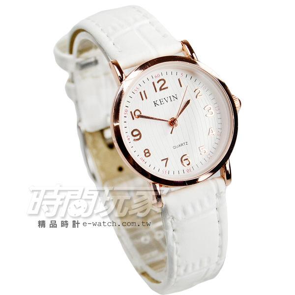 KEVIN 數字時刻簡約時尚腕錶 防水手錶 皮革錶帶 女錶 白色x玫瑰金 KV3068白小