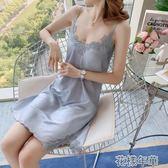 睡衣夏季薄款女士情趣睡衣性感騷火辣冰絲吊帶睡裙騷仿綢蕾絲 花樣年華