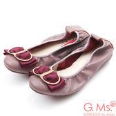 G.Ms. 牛皮織帶蝴蝶結彎折娃娃鞋*藕灰紫