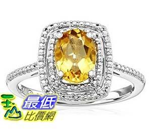 [美國直購] Sterling Silver and Diamond Cushion Ring, Size 7 戒指