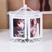 多功能旋轉音樂盒相框擺台創意個性5寸相架兒童影樓婚紗組合像框