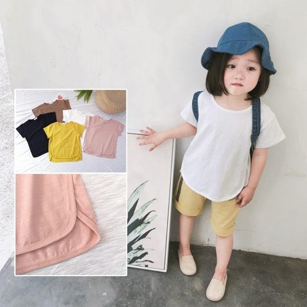 竹節棉包邊拼接前短後長短袖上衣 中性款 橘魔法Baby magic 現貨 兒童 童裝 男女童
