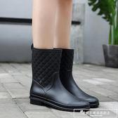 中筒雨鞋女雨靴成人防滑膠鞋水靴夏季平底套鞋防水鞋韓國時尚水鞋『韓女王』