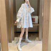 秋季連身裙 泡泡袖褶皺白色連衣裙女寬鬆可愛娃娃裙秋季2019新款韓版氣質裙子 名創
