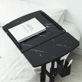 樂嫚妮 360度升降工作桌 懶人桌 電腦桌-深木紋大理石黑