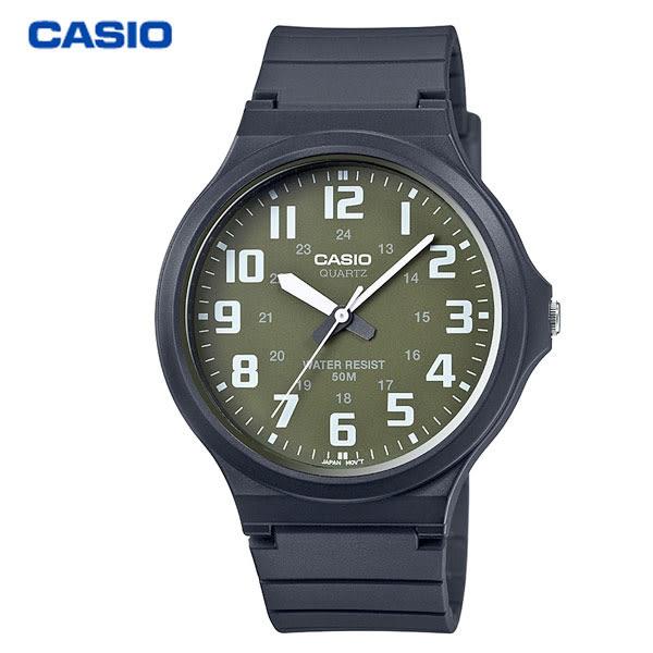 CASIO 卡西歐 大錶面數字指針膠帶錶 40mm 軍綠 MW-240-3B 防水 學生錶 數字錶 當兵軍用錶 公司貨