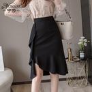 2021年早春韓版新款時尚高腰不規則魚尾裙氣質顯瘦包臀半身裙女潮 小艾新品