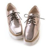amai《與黃金比例有個約會》搖滾重金屬松糕厚底小方鞋 銀