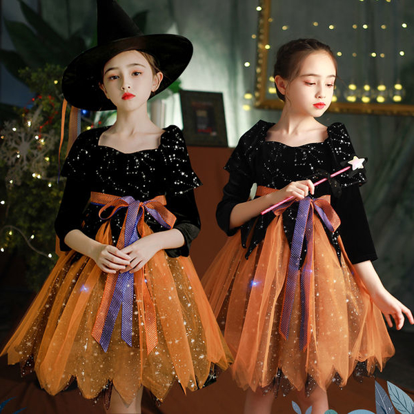 萬圣節兒童服裝女童巫婆化妝舞會演出服幼兒園女巫cosplay表演服快速出貨