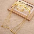 新娘金色中式古裝頭飾秀禾和服鳳冠發箍長流...