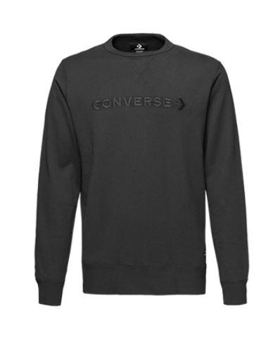 Converse 圓領上衣 長袖T恤 男款 針織 黑色 NO.10008359-A03