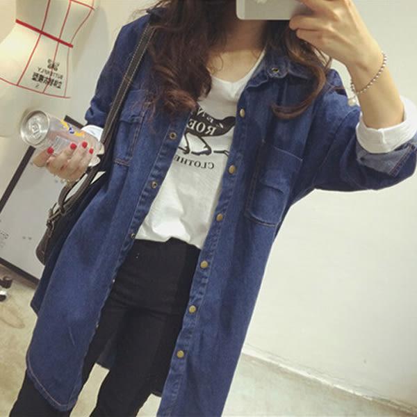 (全館一件免運)DE SHOP~韓版 學院風氣質中長款顯瘦牛仔外套  (N-098)